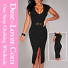 2015 Alibaba Factory Price western new Black Belted Front Slit arab style dress