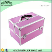 Pink waterproof abs makeup boxes aluminum frame rolling beauty case