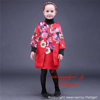 New Arrival Girls Flower Print Trench and Christmas Dress 2 pcs Clothing Sets Wholesale Kids Clothes CS81009-4