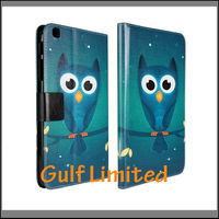 2014 Cute OWL print PU leather cover case for Samsung galaxy tab3 8.0 T310 wallet case
