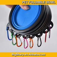 100pcs Colourful folding carabiner silicone pet bowl for cat dog pet travelling collapsible pet cup, can easy go with it outdoor