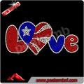 Bling Bling de la bandera americana de transferencia del Rhinestone hierro ons amor piedras y venta al por mayor