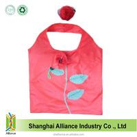 190T Nylon Fabric 100% Waterproof Red Rose Flower Folding Shopping Bag