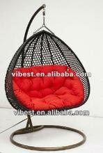 PE rattan egg chair outside