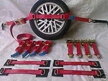 "CE SGS ISO Colour: Red Width: 2"" (50mm) Breakstrain: 5000kgs (5ton) 4 x Recovery ratchets with short ends and claw hooks"