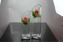 hand cut heart shaped glass vase slanted rose clear glass vase