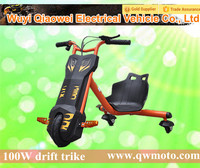 QWMOTO 2015 CE Orange 100W Kids drift trike three wheel 360 Electric Smart Drifting trike Scooter for hot sale