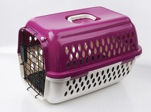 Pink Plastic Airline pet cage cheap dog cage