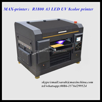 MAX-printer R1800 led uv flatbed printer A3 with 8 color rip software FREE