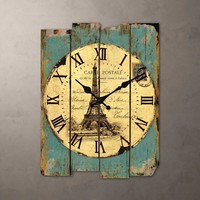 Europe type restoring ancient ways hanging clock Mediterranean irregular alphanumeric old wooden mute scanning clock