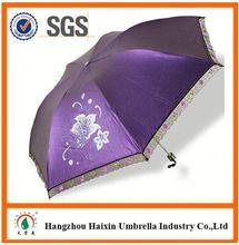 Latest Factory Wholesale Parasol Print Logo aluminum 3 folding umbrella