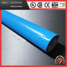 High quality car decoration vinyl wrap sticker wholesales sky blue 1.52*30M 4d carbon fiber sheet