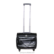 PU leather first grade 360 degree movable laptop holder trolley case, noiseless rollers bag, unisex luggage