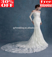 Elegant Alibaba China Off the Shoulder Muslim Wear Dresses Mermaid Vestidos Long Sleeve Lace Appliqued Wedding Dress 6261B