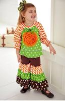 2015 Fashion green White Chevron Orange Black Spider baby girl ruffle fashion boutique clothing sets Halloween Girls Boutique