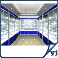 With LED spotlight bottom storage display cabinet glass display cabinet