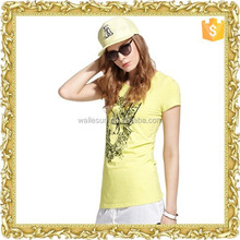 Various colours summer round neck short sleeve printed t shirt women custom