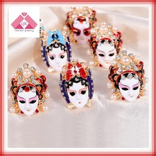 The chinese traditional peking opera best quality hot animal sex with woman silver ceramic ring for gift (QXRG15060)