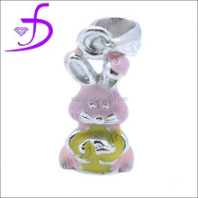 Enamel rabbit chilren charms in 925 sterling silver