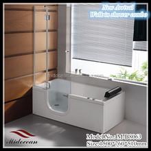 walk in bathtub with shower enclosure