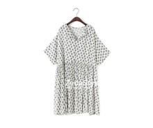 Mode col en V manches chauve - souris imprimé Floral lâche plissée femmes robes