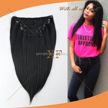 wholesale top grade no chemical brazilian hair light yaki clip in extensions