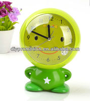 Green color smile baby desktop table clock for kids