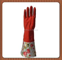 Long cuff latex gloves for cleaning/kitchen latex gloves/warm velvet household latex gloves