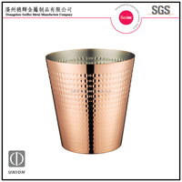 2015 new design stainless steel copper plated hammered ice bucket