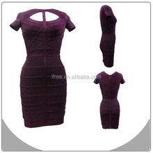 hot new products for 2015 purple new dresses wholesale short sleeve bandage dress