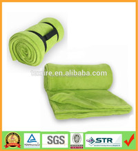 Roll Up High Quality Supersoft Microfiber Coral Fleece Blanket With Buckled Carry Handle