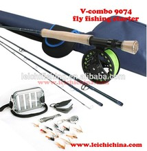 Best price 9ft 7wt carbon fly rod and fly reel starter fly fishing combo