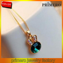 PRIMERO Wholesale sweater chain Sea Green Rabbit Control Over Cute Bunny Crystal Clavicle Pendants Necklaces Jewelry
