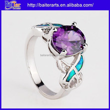 Women jewelry opal and amethyst ring,opal promise ring,opal diamond engagement rings