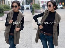 Womens Lady Designer Faux Lamb Fur Long Vest Jacket Coat With Belt