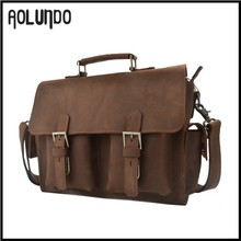 Vintage brown european genuine leather small shoulder travel bag for men