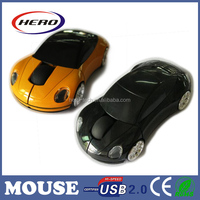 2.4g wireless optical mouse driver with USB nano receiver car shaped