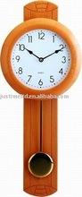 Glass wooden pendulum wall clock
