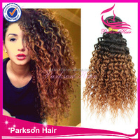 New hair products 16inch two tone color 100% virgin indian human hair wholesale kinky curly human hair