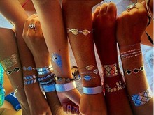 China factory 15*23cm Metallic Gold Flash Tattoos, body metal tattoo,henna tattoo
