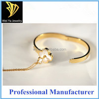 18K Gold Plated Bangle and Key Lock Love Necklace Fashion Jewelry Set