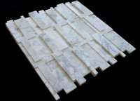 3D interior Brick Carrara White Wall Mosaic Panel