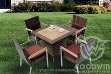 GW0009 outdoor dining set with teak top table teak armrest chair