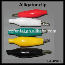55mm large size Alligator Clip with boot color:black,red,white,green,blue,yellow