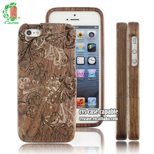 Magical Flower Design Walnut Case For Iphone5 With High Quality