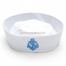 Novos marinheiros capitão do barco do navio chapéu branco marinha marinha boné com âncora mar Boating náutico Fancy Dress Nurse Hat