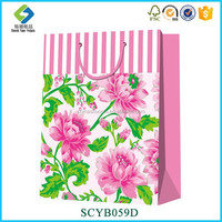 Good Quality Eco-friendly Style Peony Designed Eco Shopping Bag Paper Gift Bag