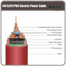 CU/XLPE/PVC electric power cable,three core XLPE insulation