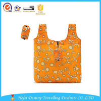 2015 hot sale handle large capacity customized outdoor durable foldable shopping bag with pouch