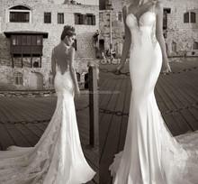 Inspired by 2015 Galia Lahav Summer Beach Wedding Dresses Lace Open Back Mermaid Bridal Gown FMG14